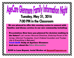 May 31 2016 Family Information Night Poster